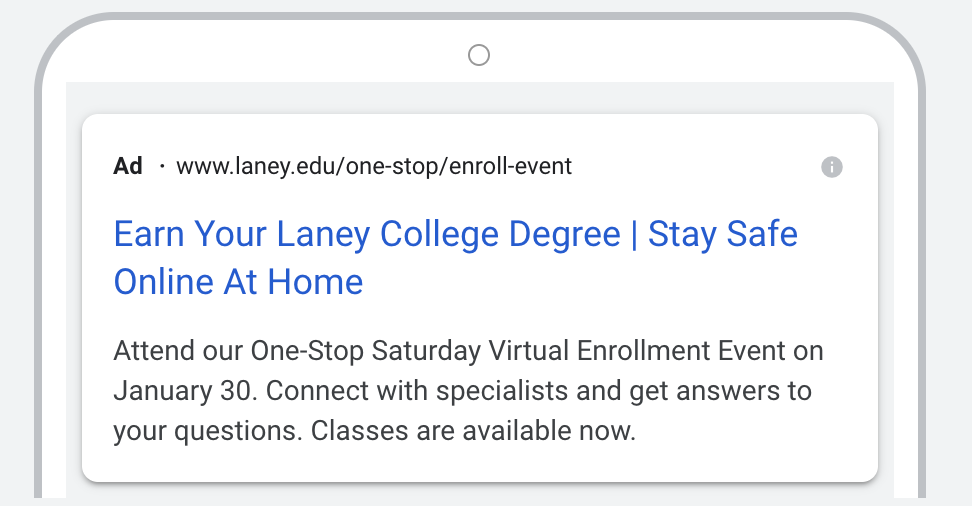Google Search Ad for Laney Event