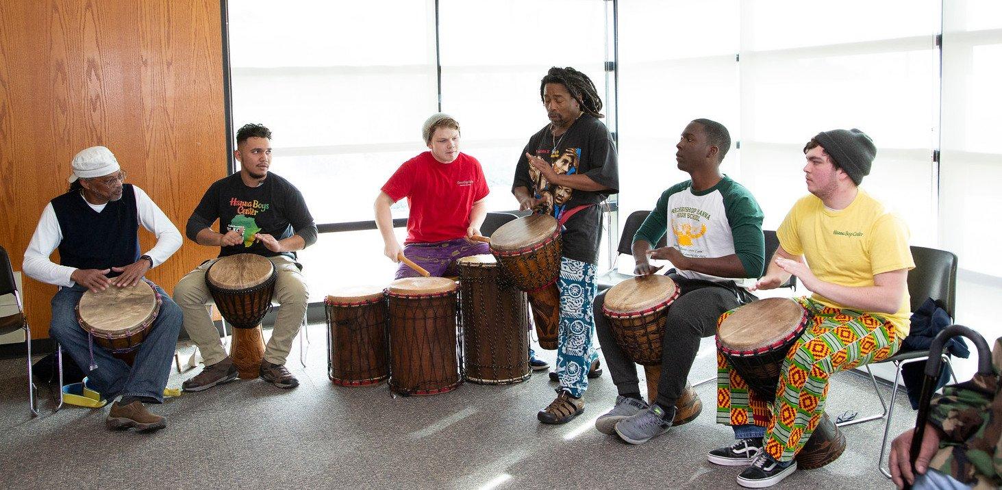 students celebrating Black History Month at Merritt College